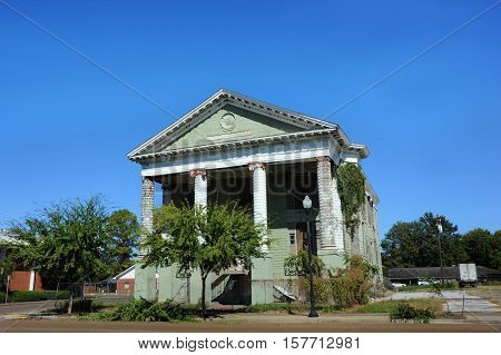 Elk Lodge also known as the Old Greenville Cotton Pickers Lodge is neo classical architecture. Building is abandoned and in disrepair in downtown Greenville Mississippi.