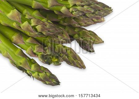 Fresh green asparagus spears on white background