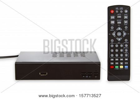 Satellite Receiver with Remote control isolated on white background
