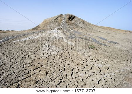 View of a mud volcano in Gobustan, Azerbaijan.