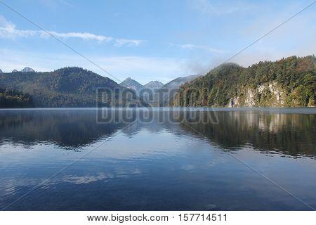 Bavarian alps in Germany / Hohenschwangau lake with bavarian alps in Germany