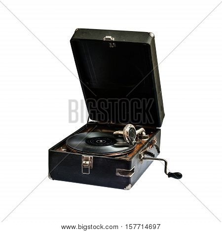 Very old gramophone isolated on white background (clipping paths included)