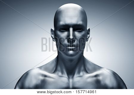 Generic human man face, front view. Futuristic mood, concepts of virtual reality etc. 3D rendering