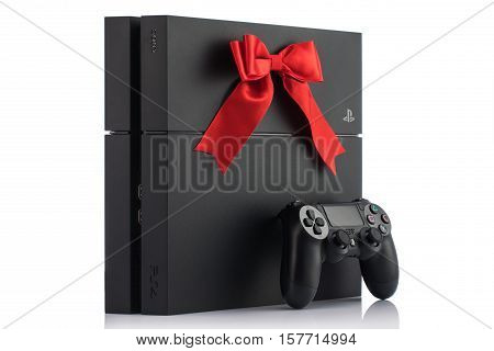 VARNA Bulgaria - 18 November 2016: Sony PlayStation 4 game console is a home video game console developed by Sony Interactive Entertainment.