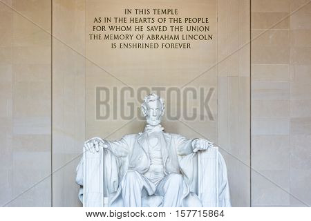 Abraham Lincoln Memorial Sitting Chair Famous Landmark Closeup Phrase Washington Dc Monument