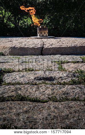 Eternal Flame John F. Kennedy Memorial Grave Arlington Cemetery Washington Dc