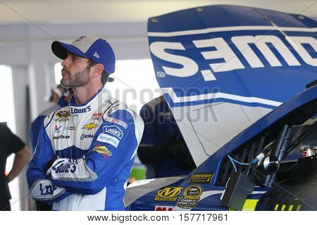 Homestead, FL - Nov 18, 2016: Jimmie Johnson (48) hangs out in the garage during practice for the Ford EcoBoost 400 at the Homestead-Miami Speedway in Homestead, FL.