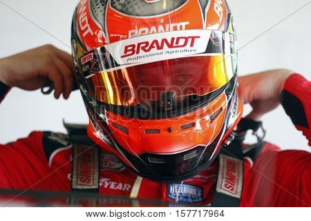 Homestead, FL - Nov 18, 2016: Justin Allgaier (7) gets ready to practice for the Ford EcoBoost 300 at Homestead-Miami Speedway in Homestead, FL.