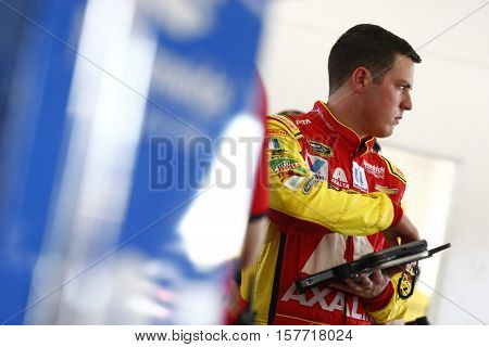 Homestead, FL - Nov 18, 2016: Alex Bowman (88) hangs out in the garage during practice for the Ford EcoBoost 400 at the Homestead-Miami Speedway in Homestead, FL.