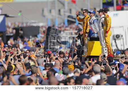 Homestead, FL - Nov 20, 2016: The NASCAR Chase Drivers get introduced for the FORD EcoBoost 400 at the Homestead-Miami Speedway in Homestead, FL.