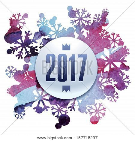 2017, new Year, snow bouquet, handmade painted, abstract vector design art