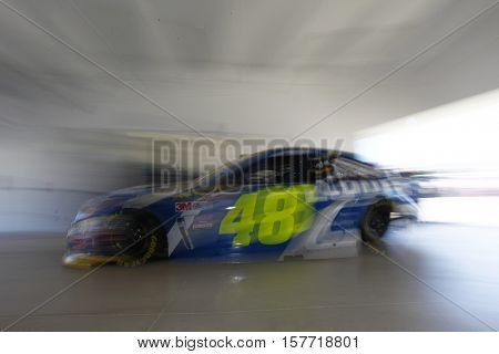 Homestead, FL - Nov 18, 2016: Jimmie Johnson (48) heads out to practice for the Ford EcoBoost 400 at the Homestead-Miami Speedway in Homestead, FL.