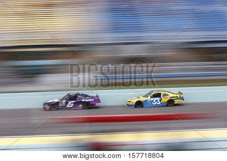 Homestead, FL - Nov 19, 2016: Darrell Wallace Jr (6) battles for position during the Ford EcoBoost 300 at the Homestead-Miami Speedway in Homestead, FL.