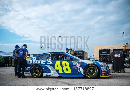 Homestead, FL - Nov 19, 2016: The #48 Lowe's Chevy goes through tech inspection  during the Ford EcoBoost 400 weekend at the Homestead-Miami Speedway in Homestead, FL.
