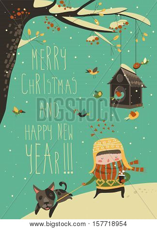 Sweet girl walking with dog on leash. Vector Christmas card