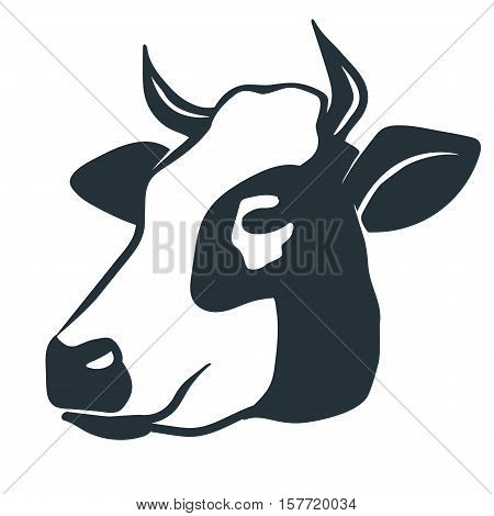 Cow head. Butcher shop sign with silhouette of bull, premium beef label,  typographic  badge and design element