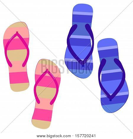 Flip-flops Beach slippers. Pair of striped flip flops for travel. Vector fashion footwear