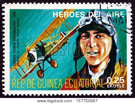 EQUATORIAL GUINEA - CIRCA 1977: a stamp printed in Equatorial Guinea shows Edward Rickenbecher Was an American Fighter Ace in World War I circa 1977