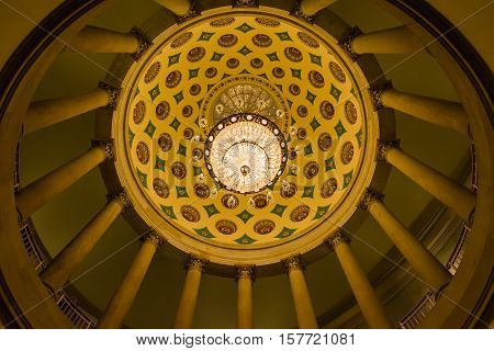 Us Capitol Building Underground Crypt Chandelier Architecture Interior Hanging Illuminated Gold Feat