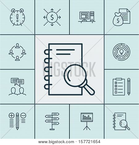 Set Of Project Management Icons On Analysis, Discussion And Presentation Topics. Editable Vector Ill