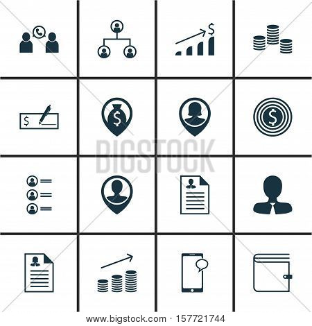 Set Of Management Icons On Messaging, Money Navigation And Manager Topics. Editable Vector Illustrat