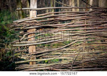 wooden wattle fence in autumn garden - abstract background