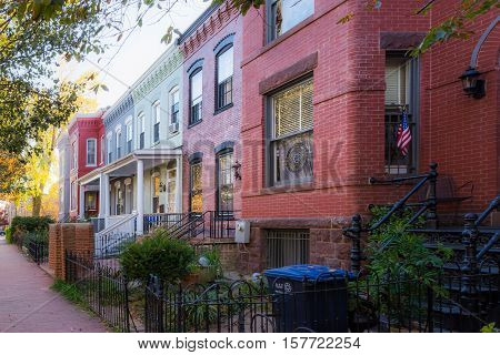 Washington Dc Row Colorful Townhouses Brick Architecture Exterior Autumn Day