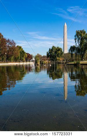 Washington Monument Natural Landscape Constitution Gardens Grass Autumn Water Reflection Outdoors Da