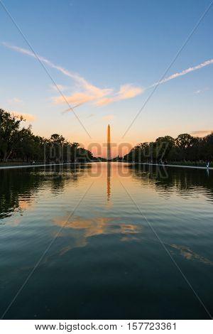 Washington Monument Sunset Reflecting Pool Beautiful Afternoon District Of Columbia Burning Sky
