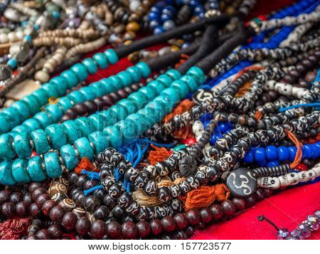 Beaded necklaces in Nepal turquoise and bone
