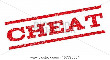 Cheat watermark stamp. Text tag between parallel lines with grunge design style. Rubber seal stamp with dirty texture. Vector red color ink imprint on a white background.