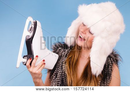 Attractive Lady With Ice Skates.