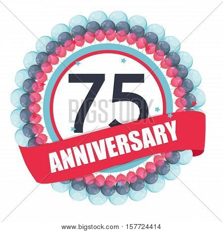Cute Template 75 Years Anniversary with Balloons and Ribbon Vector Illustration EPS10