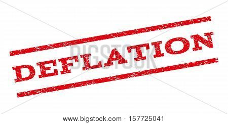 Deflation watermark stamp. Text caption between parallel lines with grunge design style. Rubber seal stamp with dirty texture. Vector red color ink imprint on a white background.