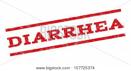 Diarrhea watermark stamp. Text caption between parallel lines with grunge design style. Rubber seal stamp with unclean texture. Vector red color ink imprint on a white background.