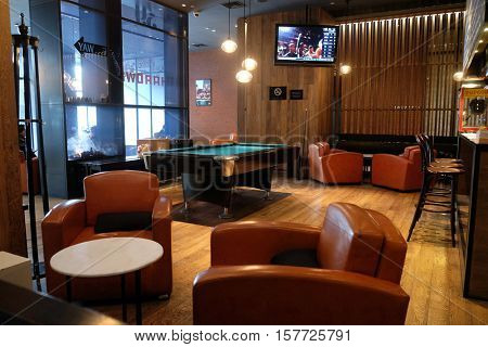 BEIJING, CHINA - FEBRUARY 23:   Lounge bar interior, Penta Hotel at Chongwenmenwai Street, Chongwenmen, Dongcheng District, on February 23, 2016 in Beijing, China.