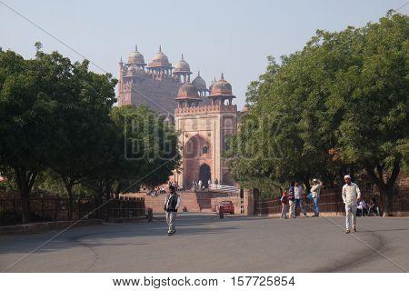 FATEHPUR SIKRI, INDIA - FEBRUARY 15: Historical city constructed by Mughal emperor Akbar in Fatehpur Sikri, Uttar Pradesh, India on February 15, 2016.