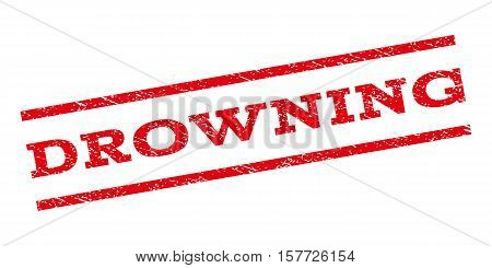 Drowning watermark stamp. Text tag between parallel lines with grunge design style. Rubber seal stamp with unclean texture. Vector red color ink imprint on a white background.