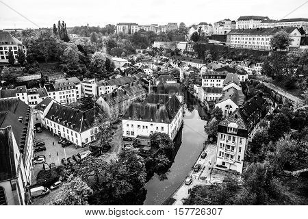 Arial view of the Ground district of Luxembourg City.
