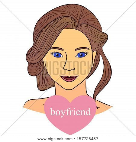 Vecto girl with boyfriend in heart infographics