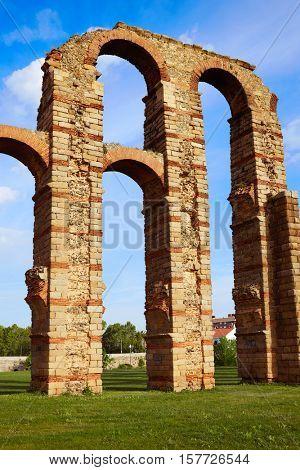 Acueducto Los Milagros in Merida Badajoz aqueduct at Extremadura of Spain
