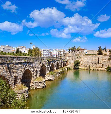 Merida in Spain roman bridge over Guadiana river Badajoz Extremadura