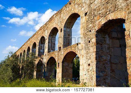 Acueducto San Lazaro in Merida Badajoz aqueduct at Extremadura of Spain