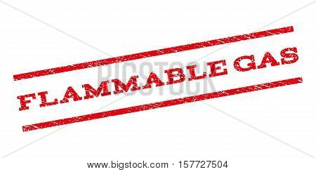 Flammable Gas watermark stamp. Text caption between parallel lines with grunge design style. Rubber seal stamp with dirty texture. Vector red color ink imprint on a white background.