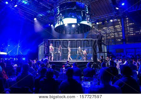 NOVI SAD SERBIA - NOVEMBER 05 2016 : MMA - SBC FIGHT TURNAMENT. CROWD IN TURNAMENT ARENA EXTREME SPORT. FIGHT NIGHT PROFESIONAL ATHLETES NOVEMBER 05 2016 NOVI SAD SERBIA