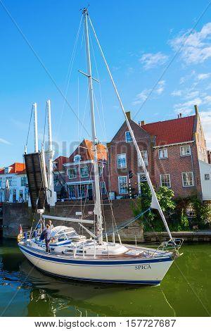 Sailboat Under Bascule Bridge In Enkhuizen, Netherlands