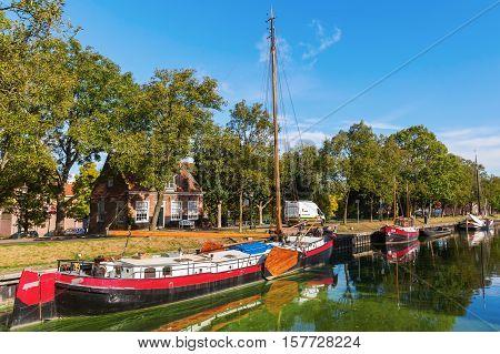 Canal Scene In Enkhuizen, Netherlands