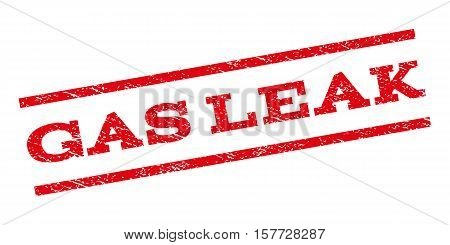 Gas Leak watermark stamp. Text caption between parallel lines with grunge design style. Rubber seal stamp with dirty texture. Vector red color ink imprint on a white background.