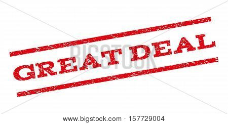 Great Deal watermark stamp. Text tag between parallel lines with grunge design style. Rubber seal stamp with unclean texture. Vector red color ink imprint on a white background.
