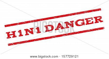 H1N1 Danger watermark stamp. Text tag between parallel lines with grunge design style. Rubber seal stamp with unclean texture. Vector red color ink imprint on a white background. poster